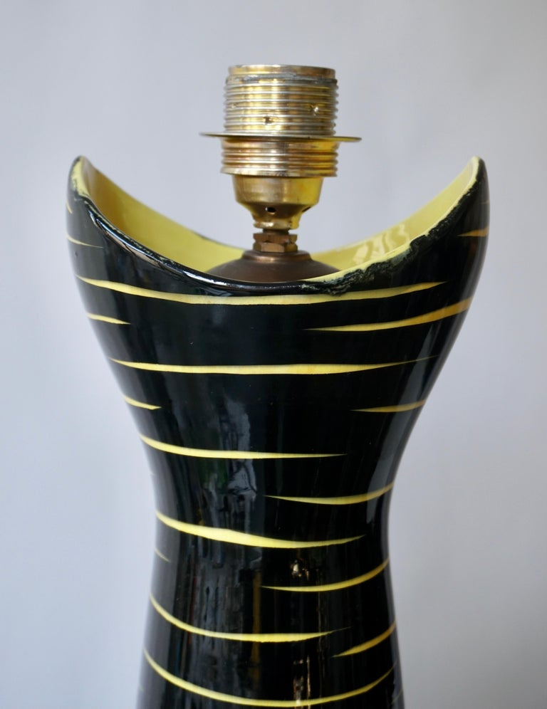 Brass Mid-Century Modern Black and Yellow Ceramic Table Lamp, 1950s For Sale