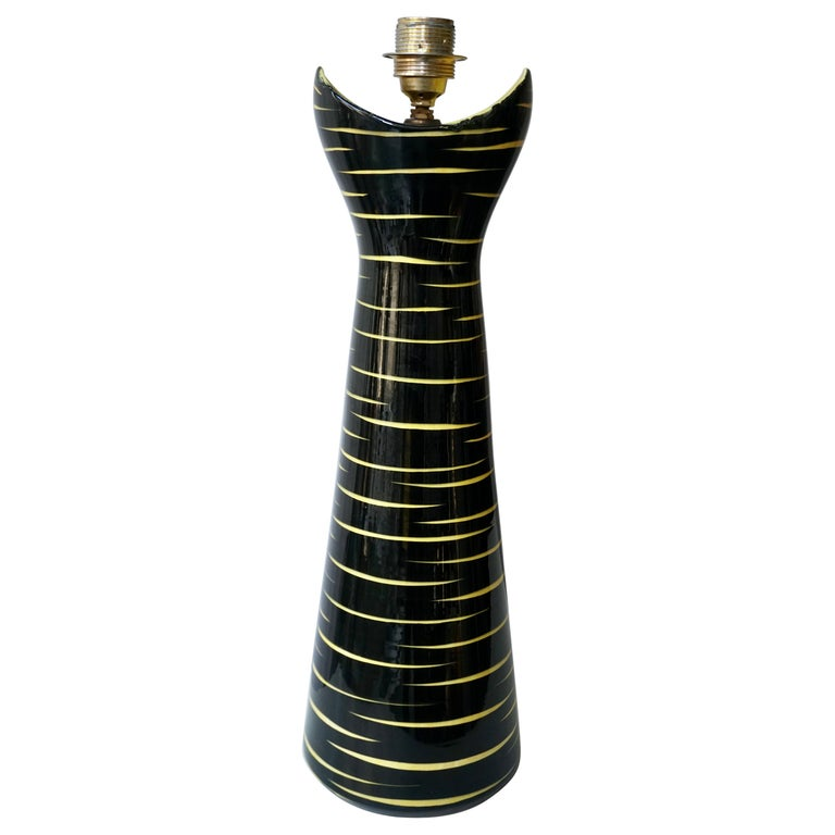 Mid-Century Modern Black and Yellow Ceramic Table Lamp, 1950s For Sale
