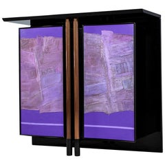 Mid-Century Modern Black Bar Cabinet