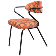 Mid-Century Modern Black Bent Steel Tube Armchair with New Orange Upholstery