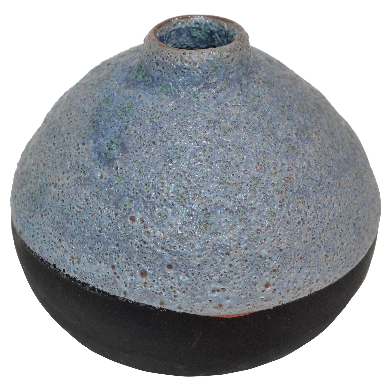 Mid-Century Modern Black & Blue American Raku Vase, Vessel Studio Art Pottery 80