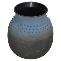 Mid-Century Modern Black & Blue American Raku Vase, Vessel Studio Art Pottery