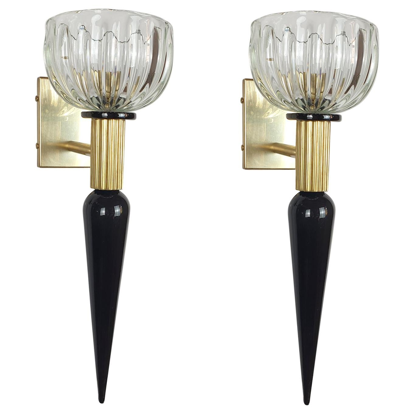 Mid-Century Modern Black & Clear Murano Glass Sconces, Venini Style Italy, 1960s