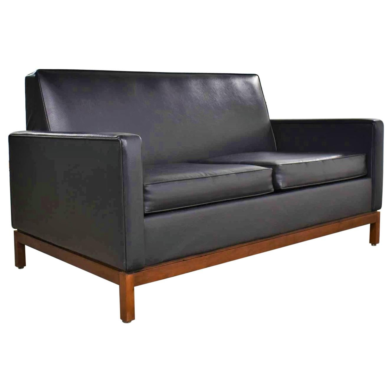 Mid-Century Modern Black Faux Leather Love Seat Sofa by Taylor Chair Co. Style D
