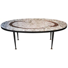 Mid-Century Modern Black Grey Vitrified Tesserae Coffee Table, Italy, 1960