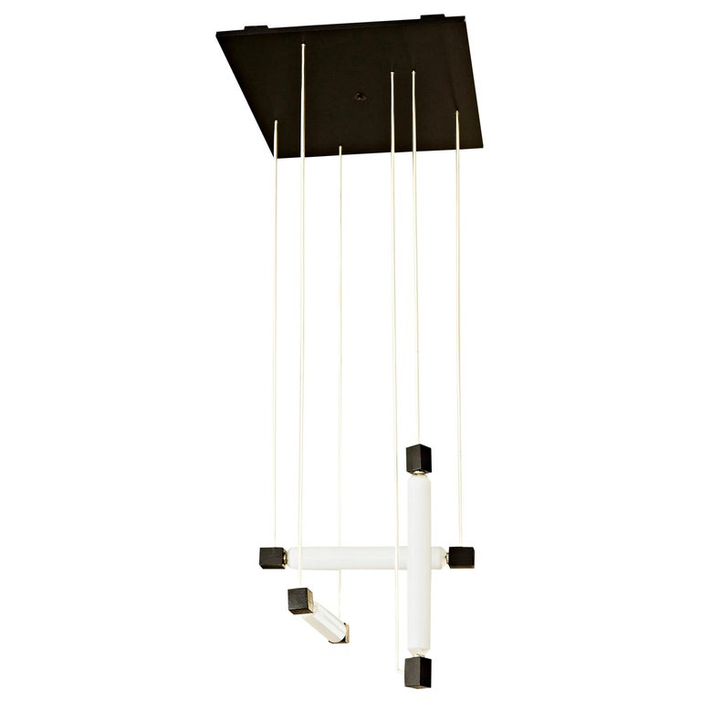 Mid-Century Modern Black Hanging Lamp after Gerrit Rietveld, circa 1960 For Sale