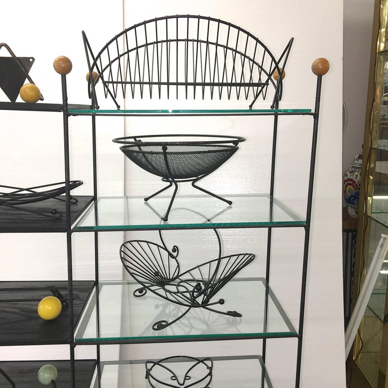 Mid-Century Modern Black Iron Wire Organizers For Sale 10