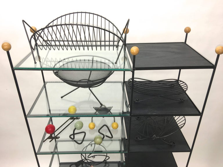 Mid-Century Modern Black Iron Wire Organizers For Sale 12