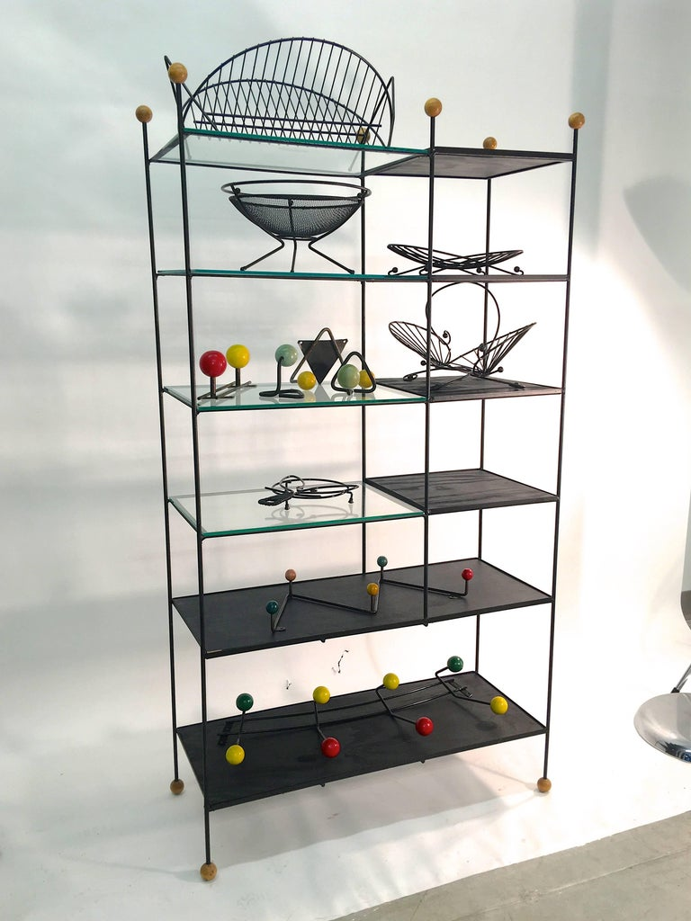 Mid-Century Modern Black Iron Wire Organizers For Sale 13