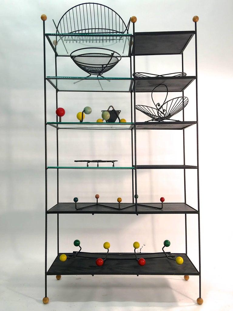 Mid-Century Modern Black Iron Wire Organizers For Sale 14