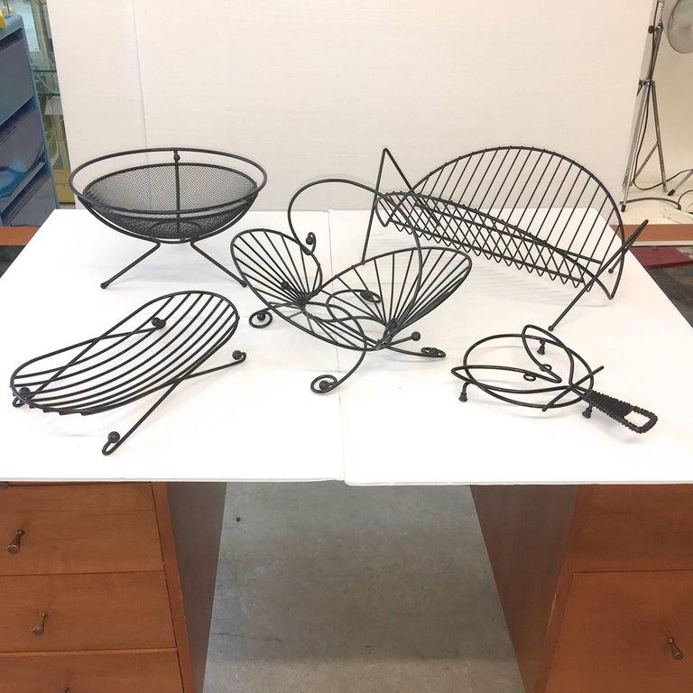 Blackened Mid-Century Modern Black Iron Wire Organizers For Sale