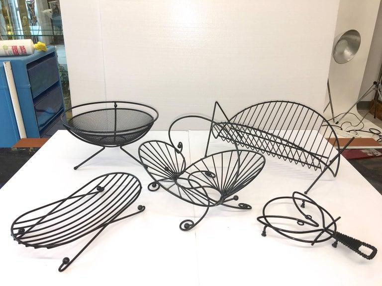 Mid-20th Century Mid-Century Modern Black Iron Wire Organizers For Sale