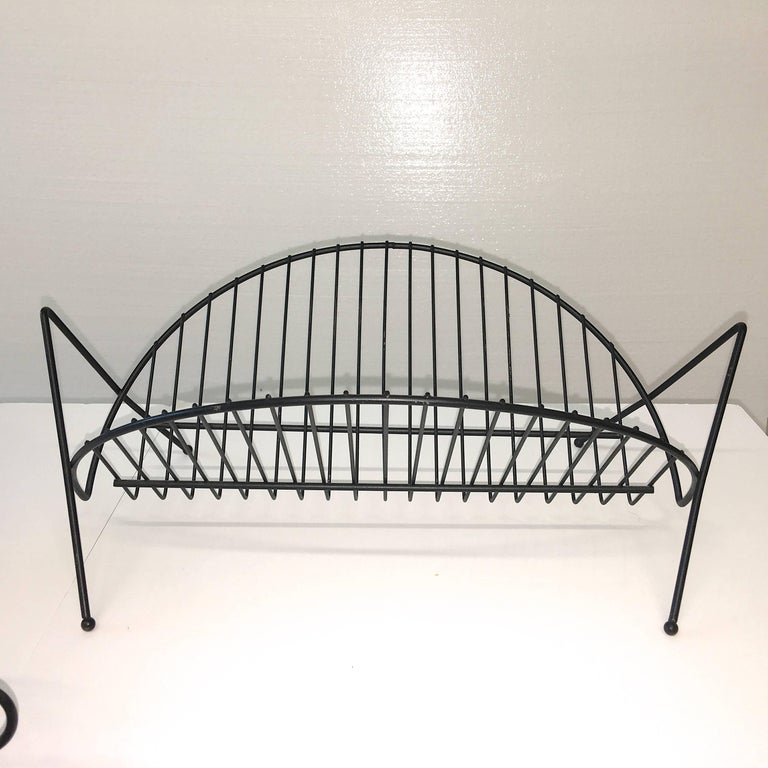 Mid-Century Modern Black Iron Wire Organizers For Sale 3