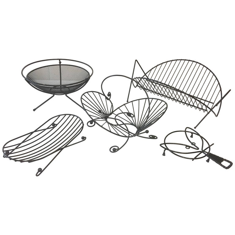 Mid-Century Modern Black Iron Wire Organizers For Sale