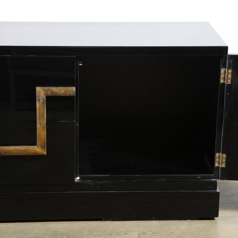 Mid-20th Century Mid-Century Modern Black Lacquer and Gold Leaf Sideboard Signed by James Mont For Sale