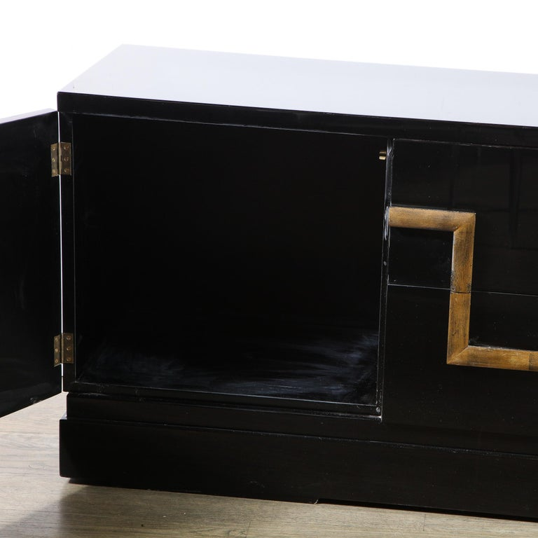 Giltwood Mid-Century Modern Black Lacquer and Gold Leaf Sideboard Signed by James Mont For Sale