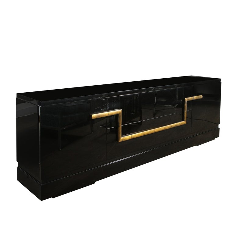 Mid-Century Modern Black Lacquer and Gold Leaf Sideboard Signed by James Mont For Sale 1
