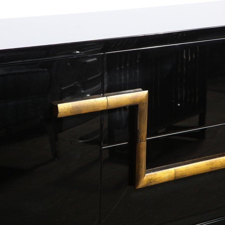 Mid-Century Modern Black Lacquer and Gold Leaf Sideboard Signed by James Mont For Sale 2