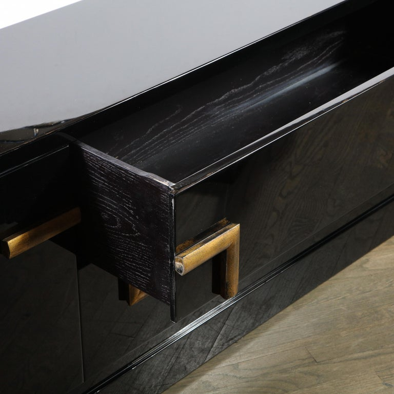 Mid-Century Modern Black Lacquer and Gold Leaf Sideboard Signed by James Mont For Sale 3