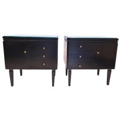 Mid-Century Modern Black Lacquered Bedside Cabinets