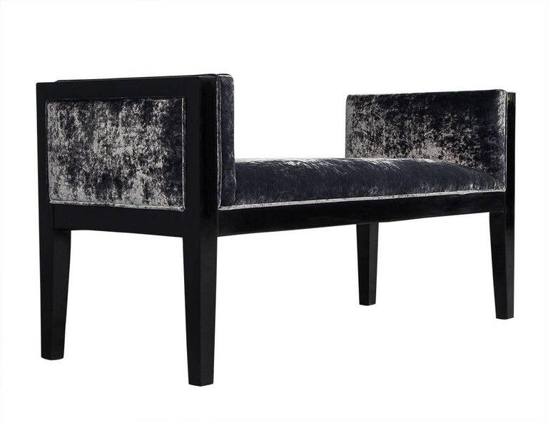 American Mid-Century Modern Black Lacquered Bench For Sale