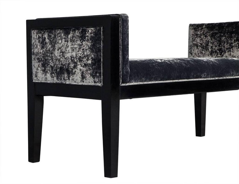 Late 20th Century Mid-Century Modern Black Lacquered Bench For Sale