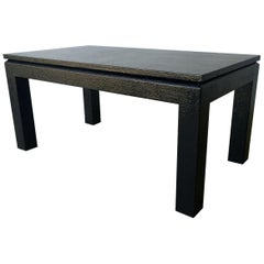 Mid-Century Modern Black Lacquered Grasscloth Harrison Van Horn Coffee Table