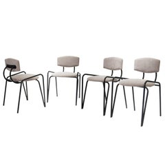 Mid-Century Modern Black Lacquered Iron and Grey Velvet Italian Chairs, 1970