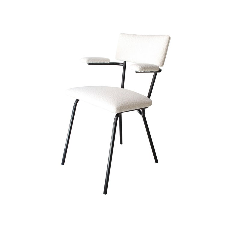 Mid-20th Century Mid-Century Modern Black Lacquered Iron and White Bouclé Italian Chairs, 1960 For Sale