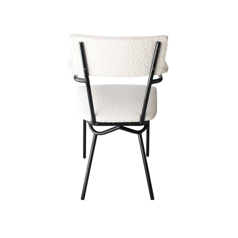 Mid-Century Modern Black Lacquered Iron and White Bouclé Italian Chairs, 1960 For Sale 1