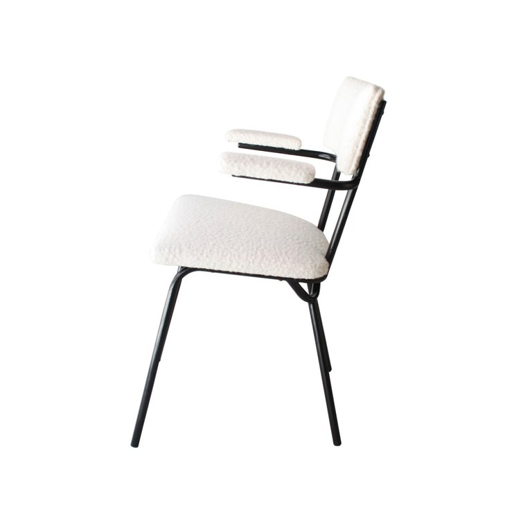 Mid-Century Modern Black Lacquered Iron and White Bouclé Italian Chairs, 1960 For Sale 2