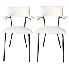 Mid-Century Modern Black Lacquered Iron and White Bouclé Italian Chairs, 1960