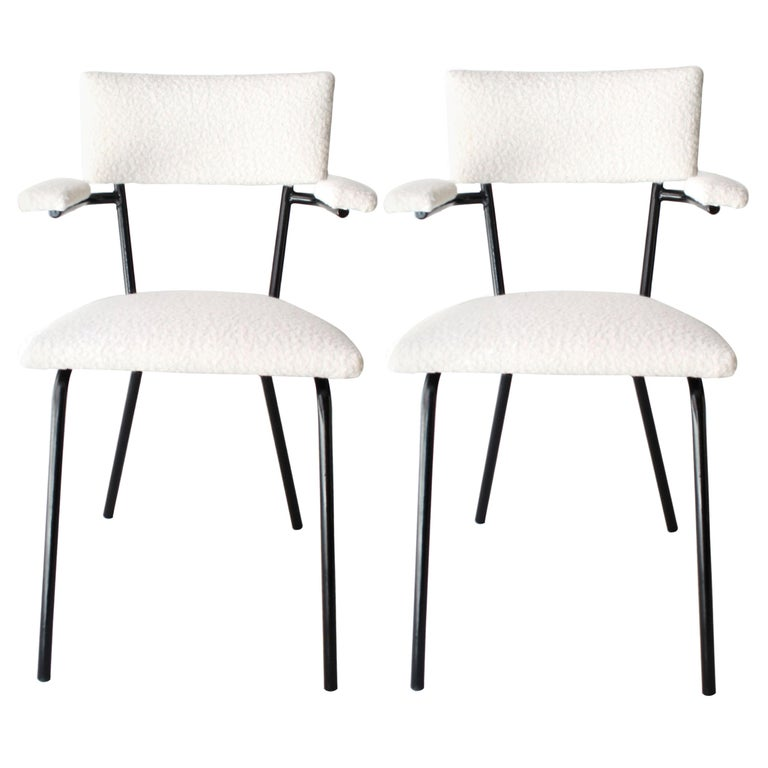 Mid-Century Modern Black Lacquered Iron and White Bouclé Italian Chairs, 1960 For Sale