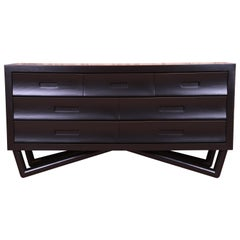 Mid-Century Modern Black Lacquered Long Dresser or Credenza, Newly Refinished