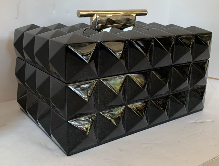 A wonderful Mid-Century Modern black lacquered polished nickel Lorin Marsh quilted transitional box.