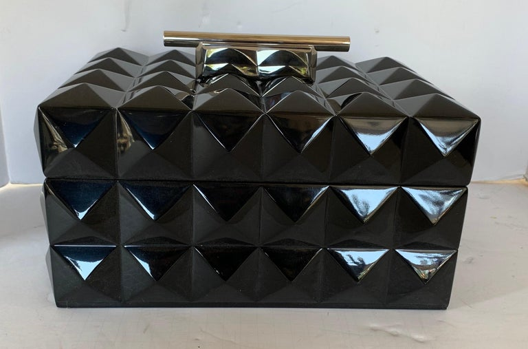 Mid-Century Modern Black Lacquered Nickel Lorin Marsh Quilted Transitional Box In Good Condition For Sale In Roslyn, NY
