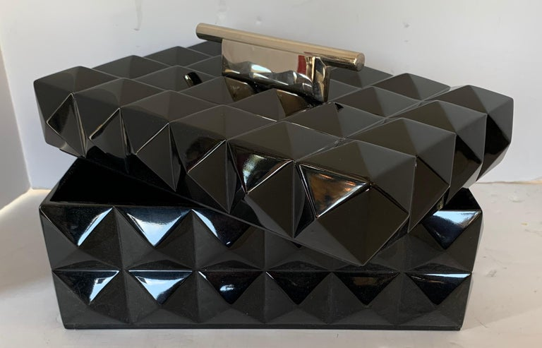 20th Century Mid-Century Modern Black Lacquered Nickel Lorin Marsh Quilted Transitional Box For Sale