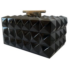 Mid-Century Modern Black Lacquered Nickel Lorin Marsh Quilted Transitional Box