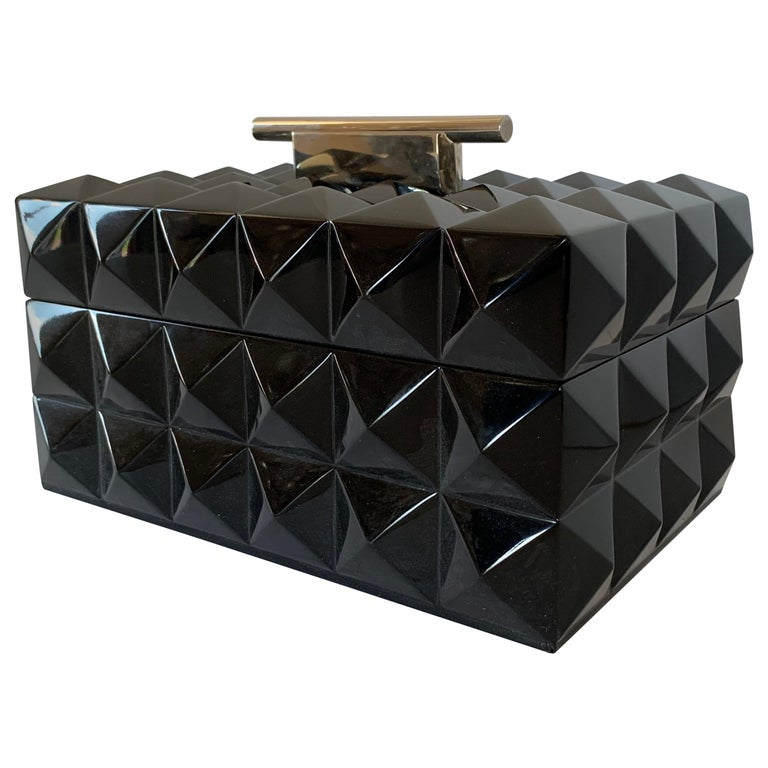 Mid-Century Modern Black Lacquered Nickel Lorin Marsh Quilted Transitional Box For Sale