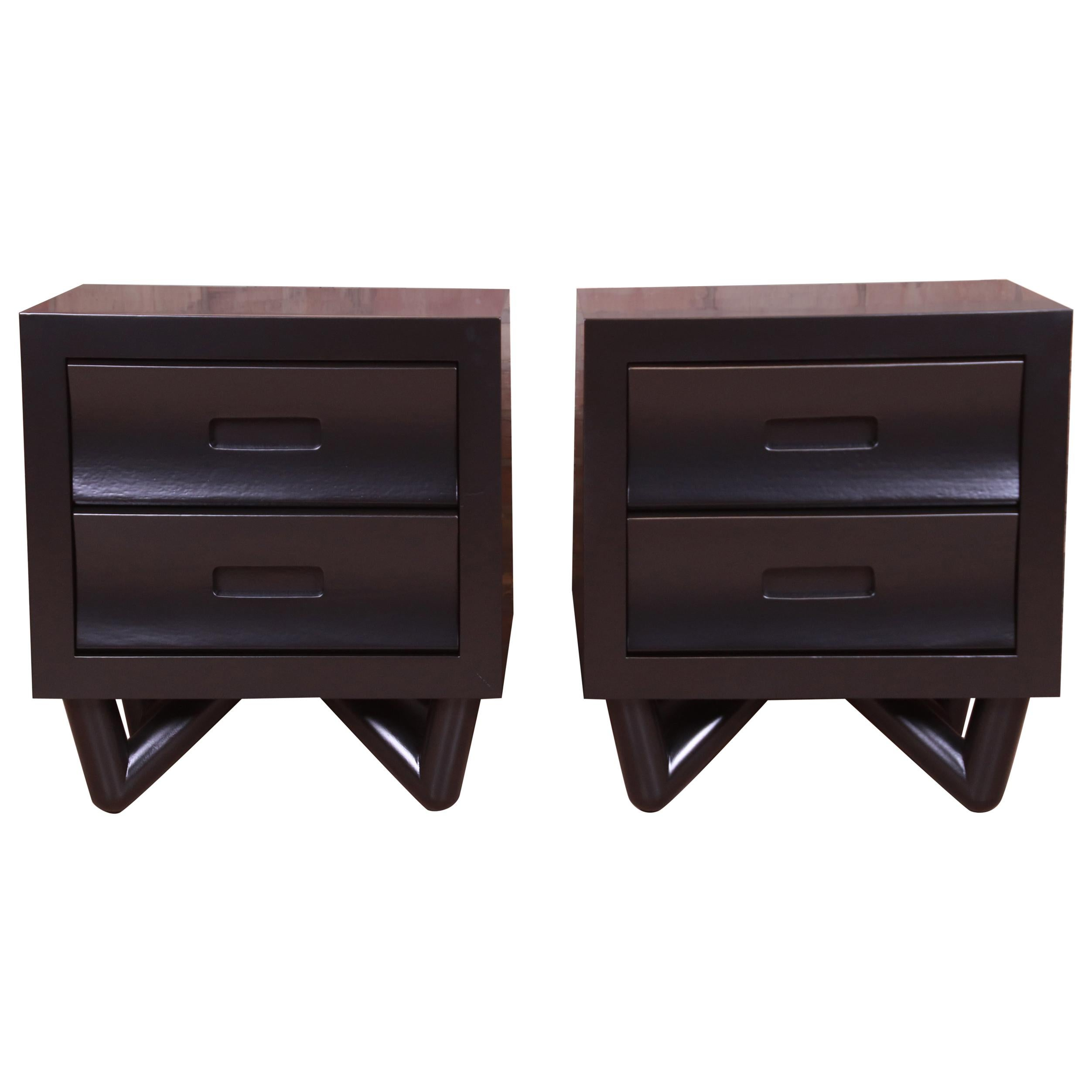 Mid-Century Modern Black Lacquered Nightstands, Newly Refinished