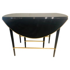 Mid-Century Modern Black Lacquered Paul McCobb Serving / Dining Table 5 Leaves