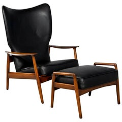 Mid-Century Modern Black Leather Armchair Recliner with Matching Ottoman
