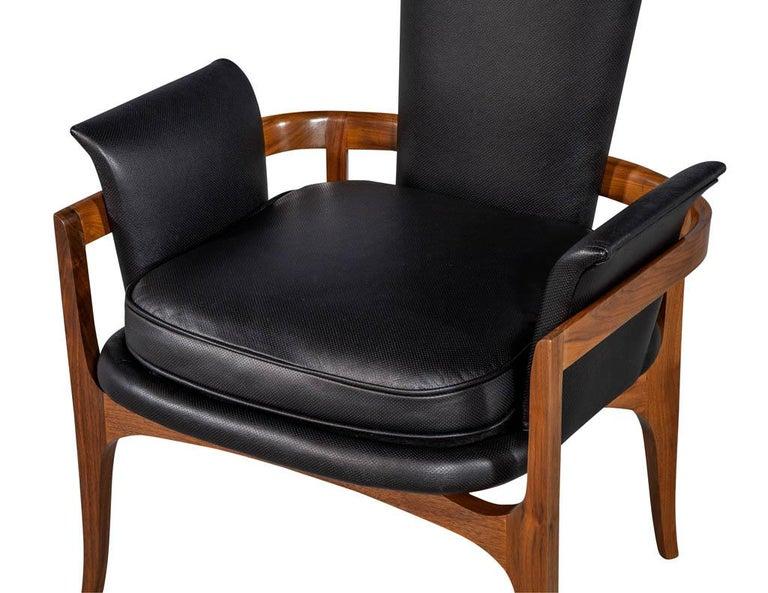 Mid-Century Modern Black Leather Desk Chair at 1stdibs