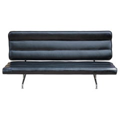 Mid-Century Modern Black Leather Eames Model 3473 Sofa for Herman Miller