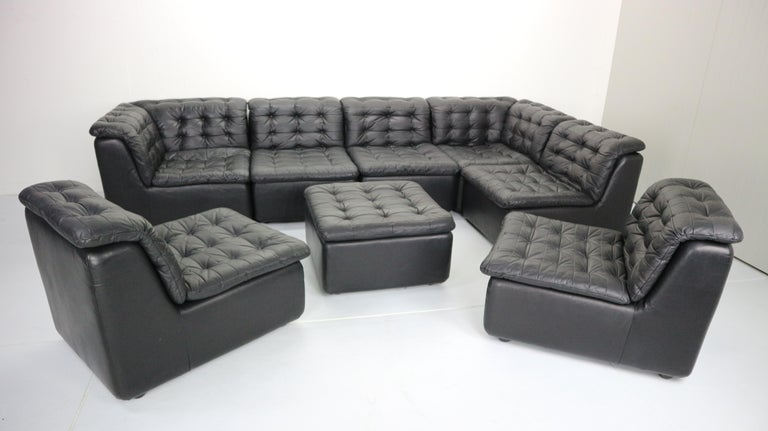 Mid Century Modern Black Leather Sectional Seven Seat Sofa