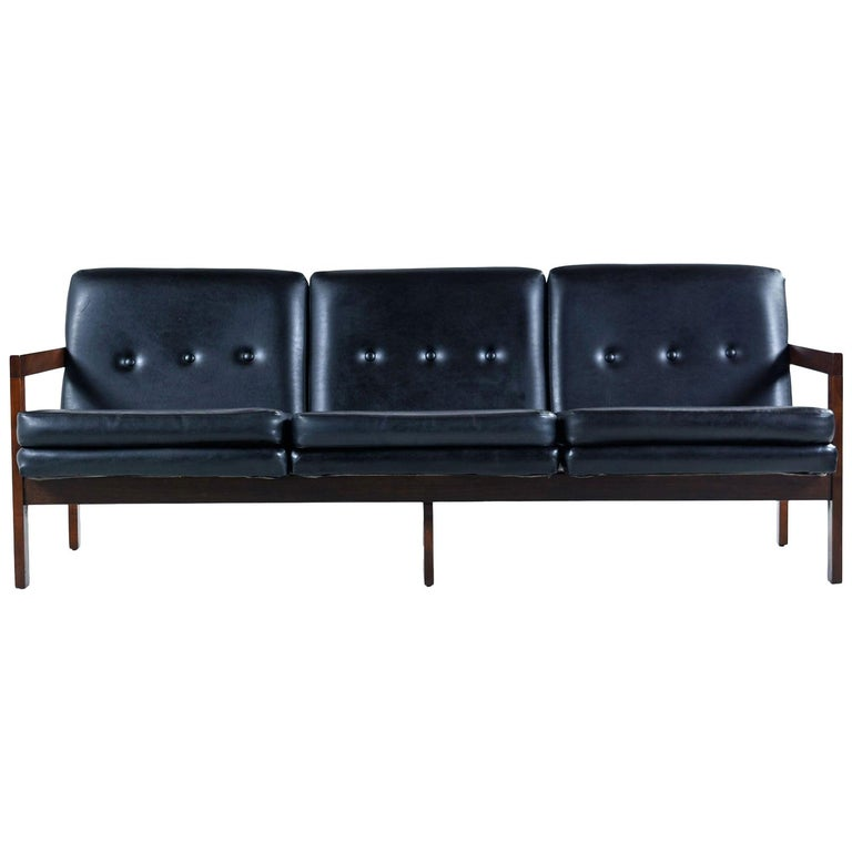 Mid-Century Modern Black Leather Sofa Couch Beechwood with Button Tufted  Backs