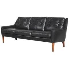 Mid-Century Modern Black Leather Swedish Sofa by Ulferts Tibro, 1960s