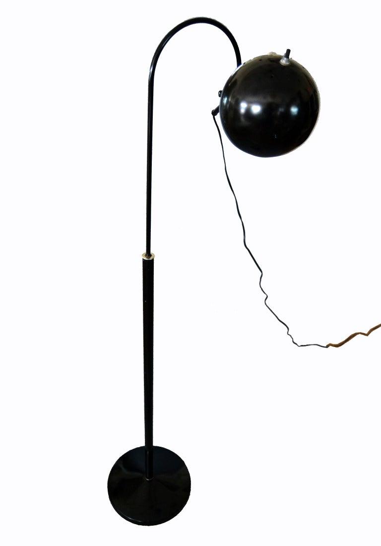 Mid Century Modern Black Metal Floor Lamp With Adjustable