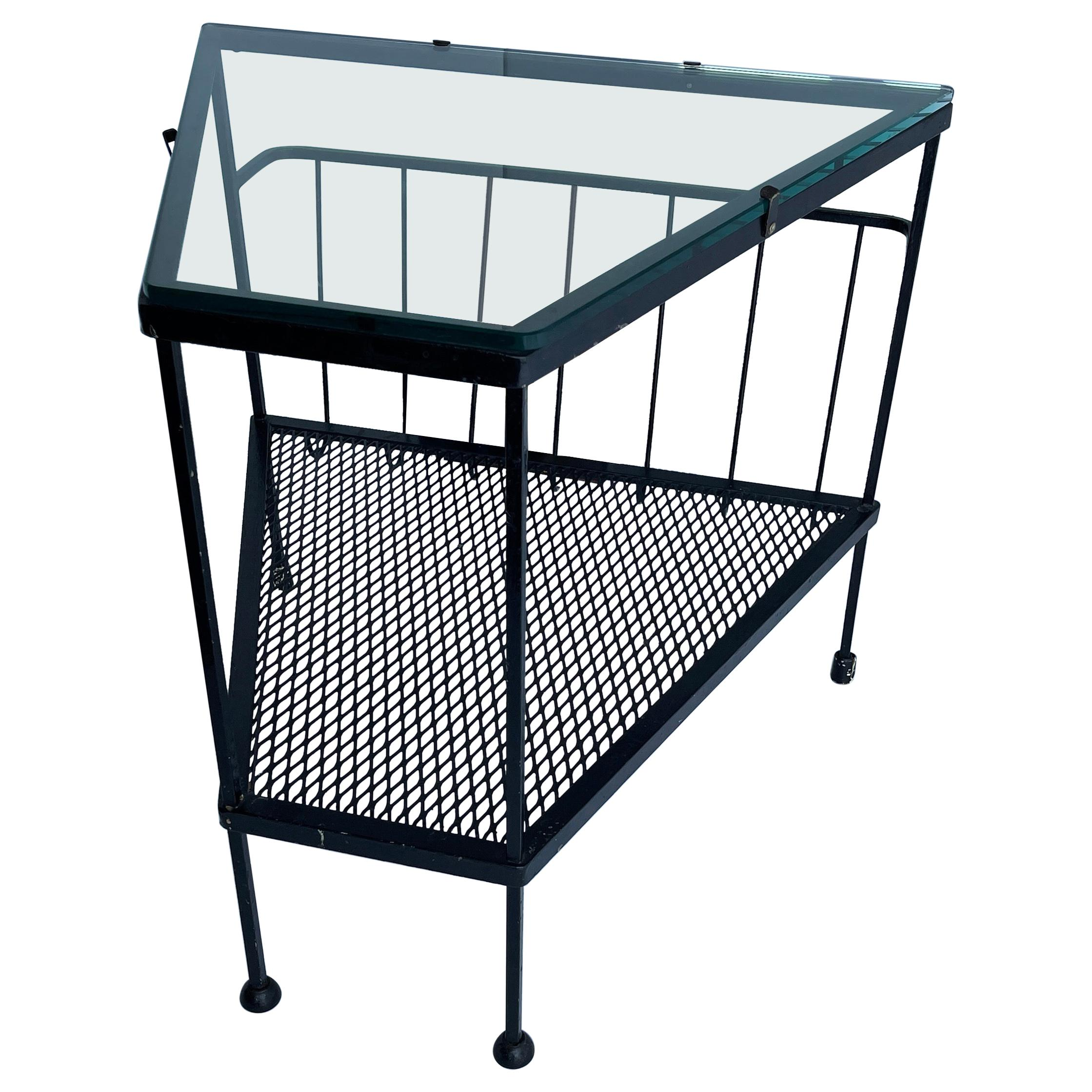 Mid-Century Modern Black Metal Side Table, Magazine Rack with Glass Top