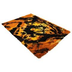 Mid-Century Modern Black & Orange Rya Wool Shag Area Rug Carpet, 1970s, England